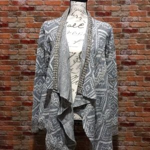 Grey and white cardigan